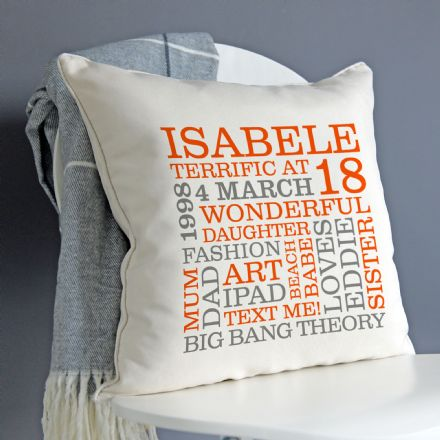 Personalised 18th Birthday Word Art Cushion